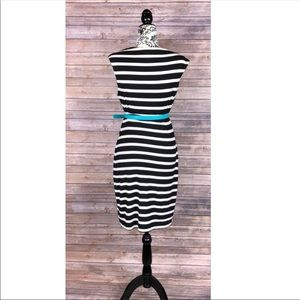 Calvin Klein Dresses - Calvin Klein dress 8 striped black & white belted